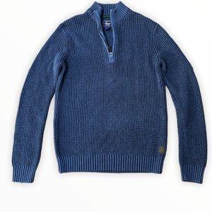 G.H. Bass Navy Blue 1/4 zip pullover knit sweater